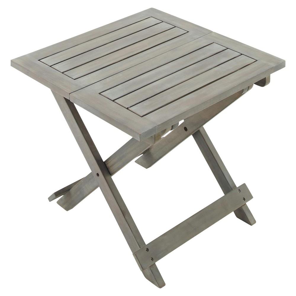 Tavolino grigio pieghevole da giardino in acacia l 50 cm saint malo maisons du monde - Maison du monde st malo ...