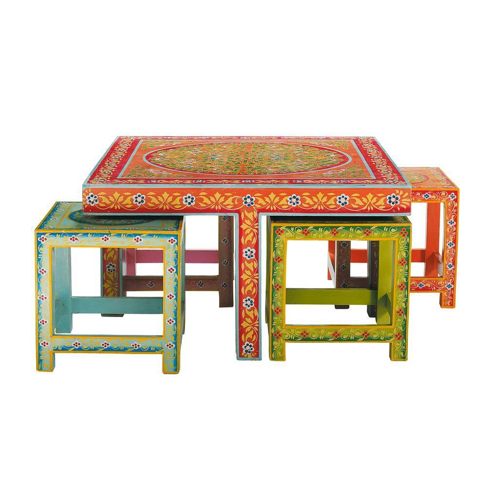 ... › Tavolo basso + 4 sgabelli multicolore in acacia L 80 cm ROULOTTE