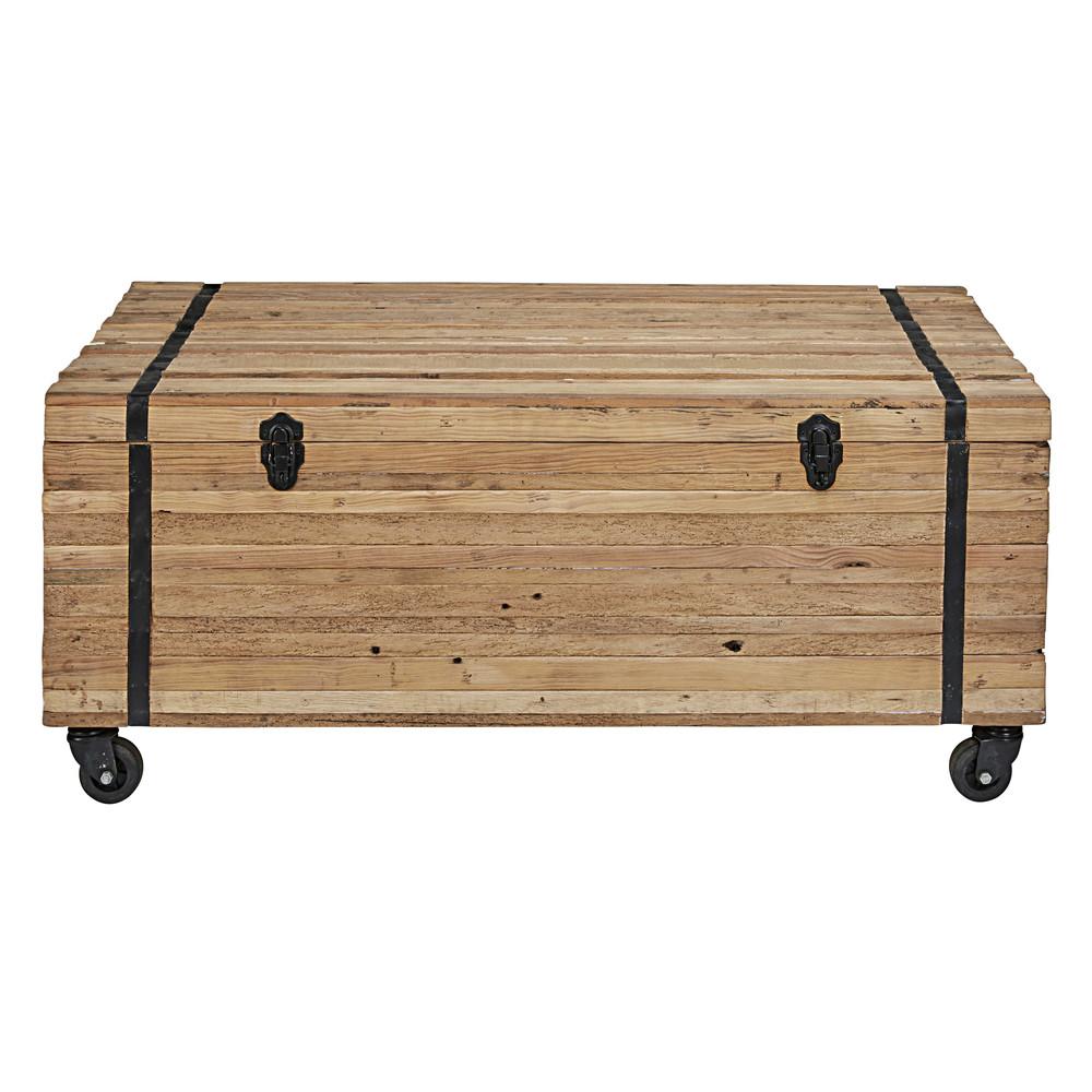 Tavolo basso a rotelle in legno riciclato sawyer maisons - Tavolo legno riciclato ...