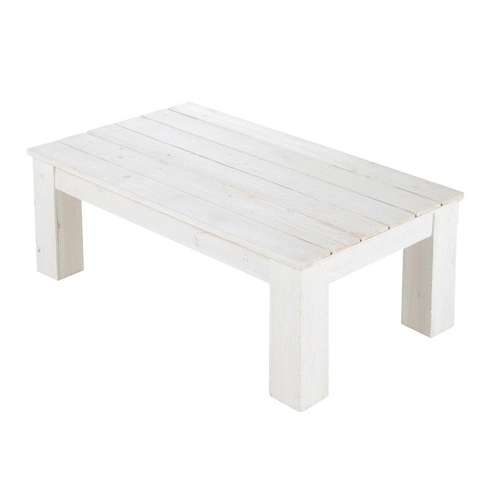 tavolo basso bianco da giardino in legno l 100 cm faro | maisons ... - Tavolo Da Giardino In Legno Bianco
