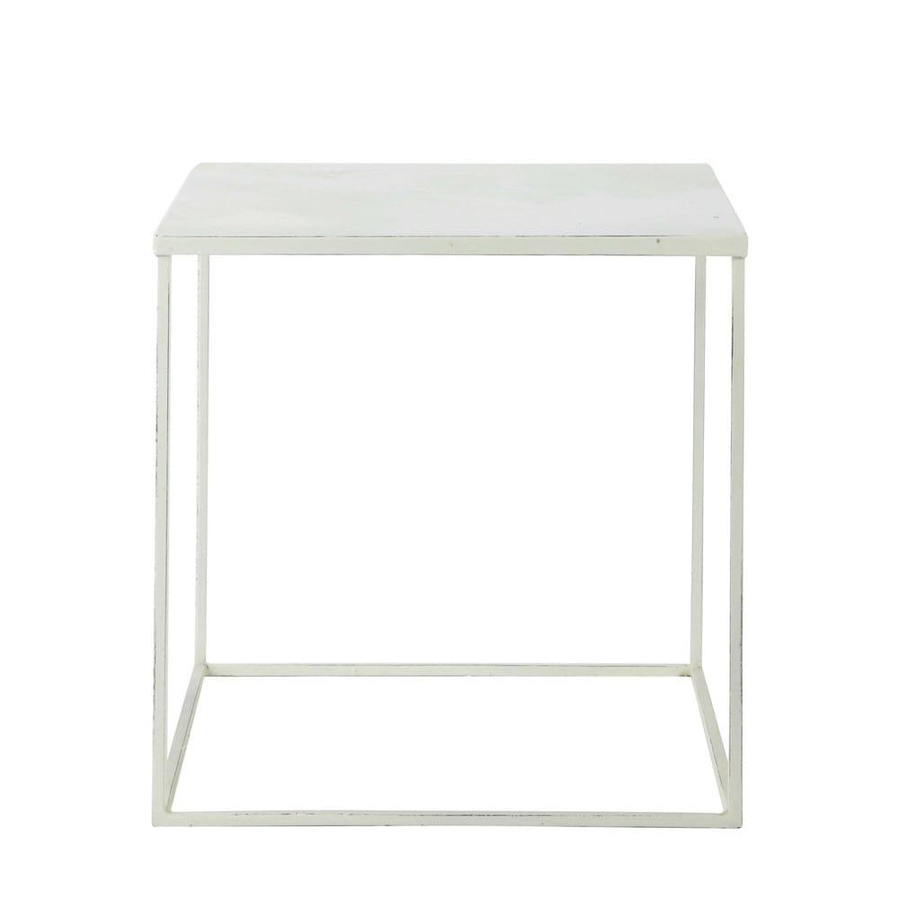 Tavolo basso bianco in metallo l 45 cm bloom maisons du - Tavolo account bianco ...