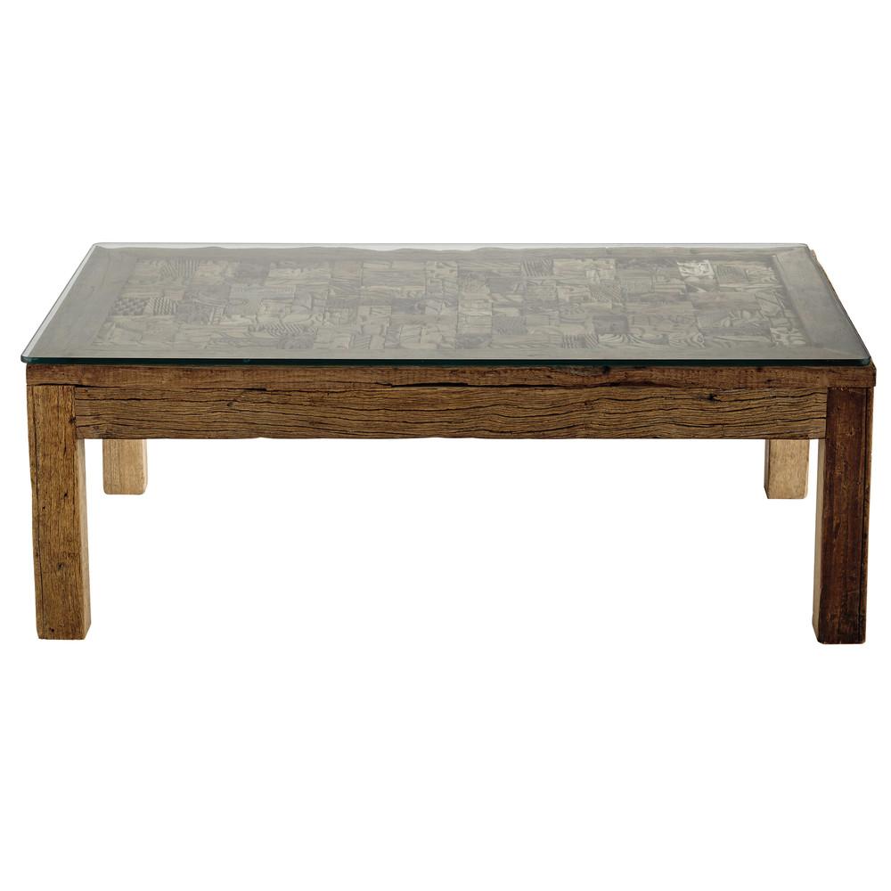 Tavolo basso in legno riciclato e vetro temperato l 120 cm - Tavolo legno riciclato ...