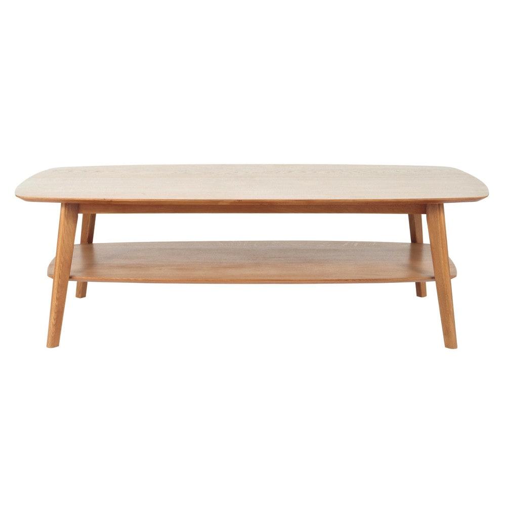 Tavolo basso in massello di quercia l 130 cm portobello - Table basse rangement bouteille ...