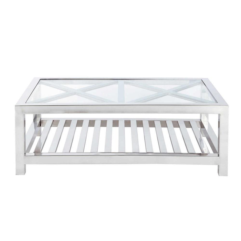 Tavolo basso in vetro e acciaio cromato l 120 cm riga for Table tele en verre
