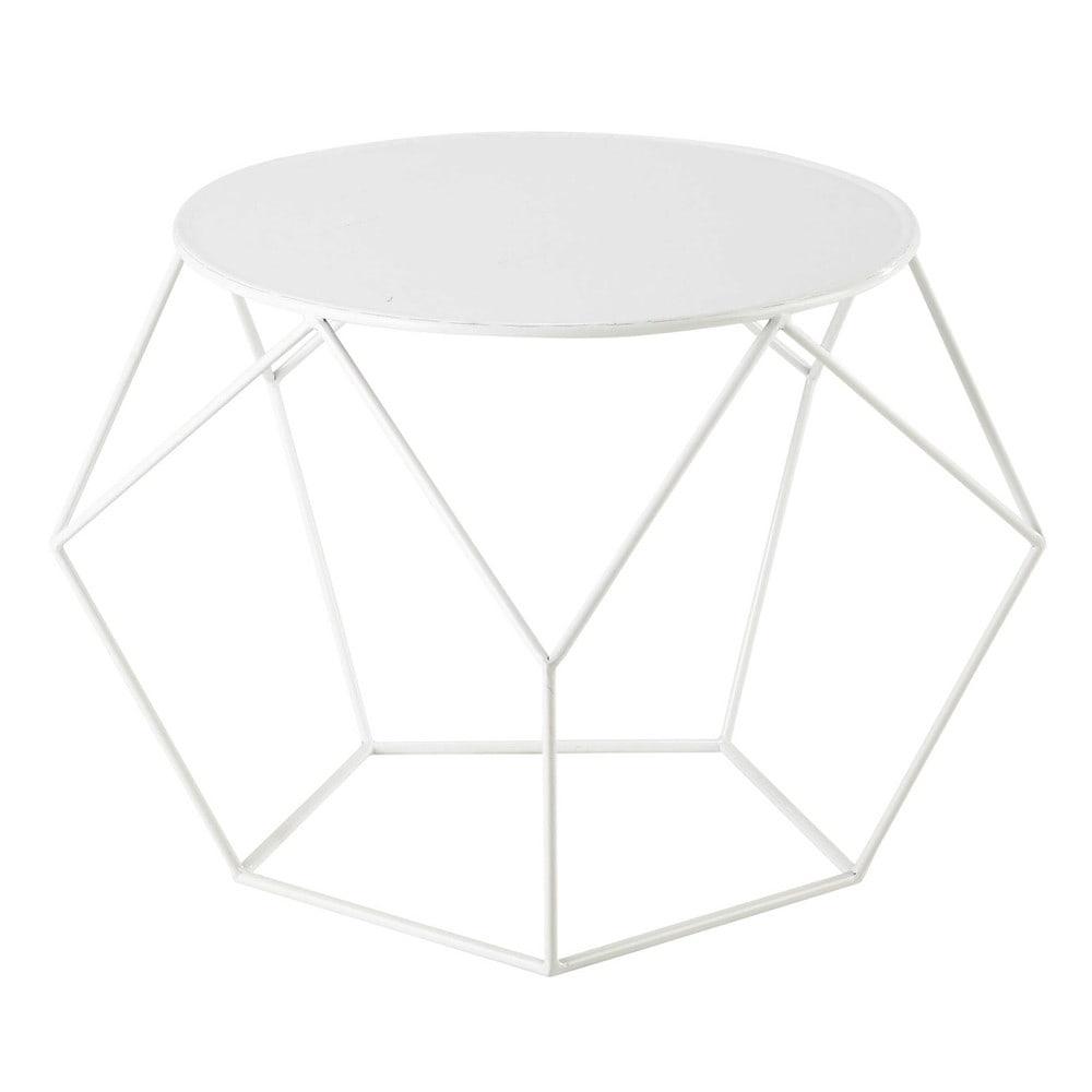 tavolo basso rotondo bianco in metallo d 64 cm prism maisons du monde. Black Bedroom Furniture Sets. Home Design Ideas