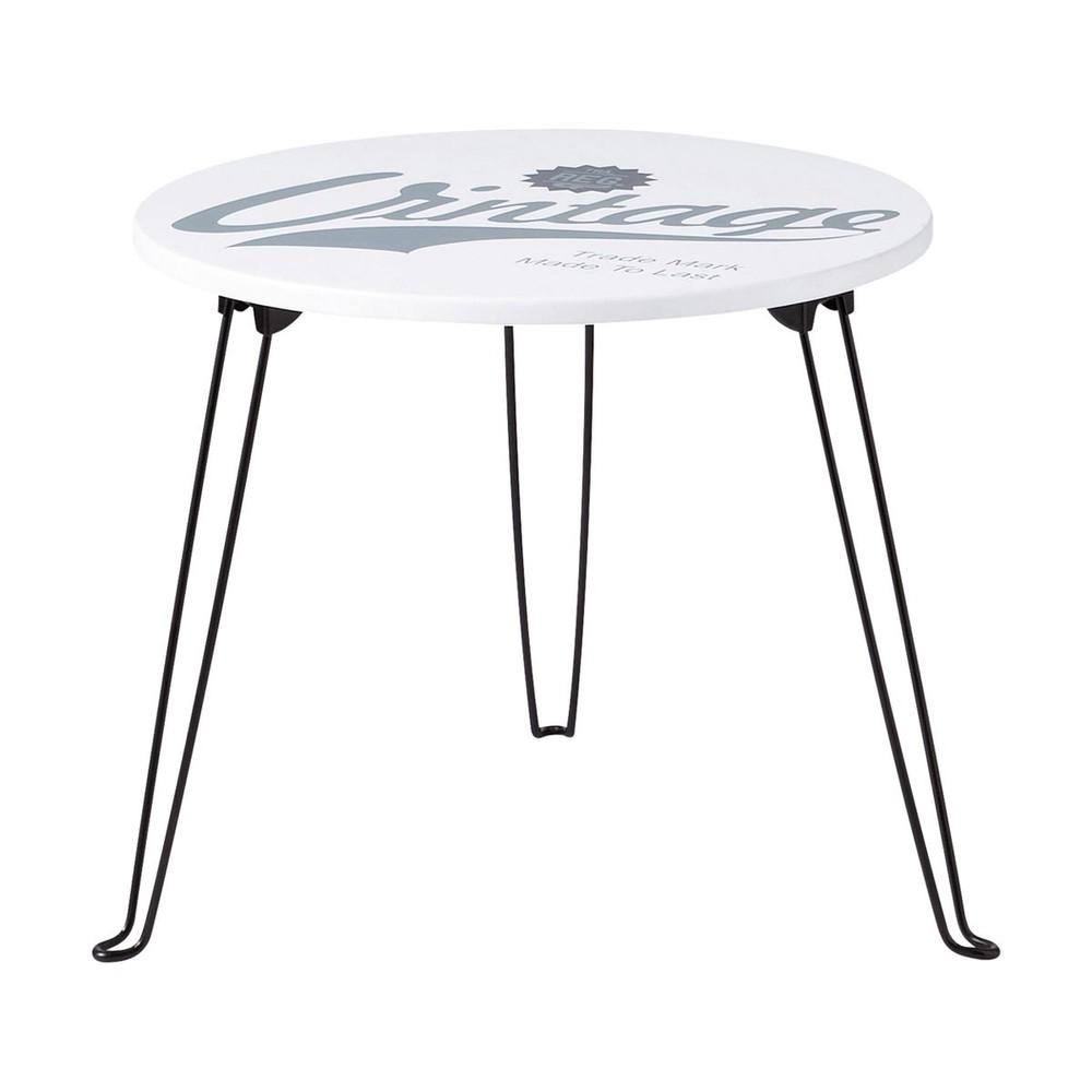 Tavolo basso rotondo vintage in metallo e legno d 48 cm - Tavolo legno e metallo ...