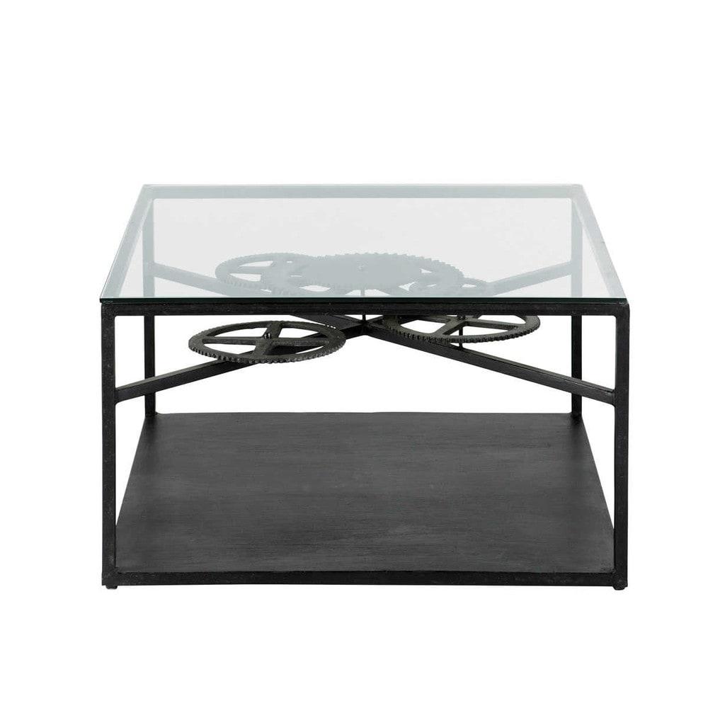 Tavolo basso stile industriale in vetro e metallo l 80 cm - Tavolo maison du monde usato ...