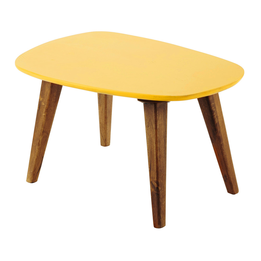 tavolo basso vintage giallo in legno l 75 cm con il suo ripiano giallo ...