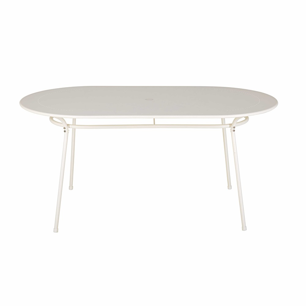 Tavolo da giardino ovale in metallo avorio 6 persone holly for Tavolo giardino metallo