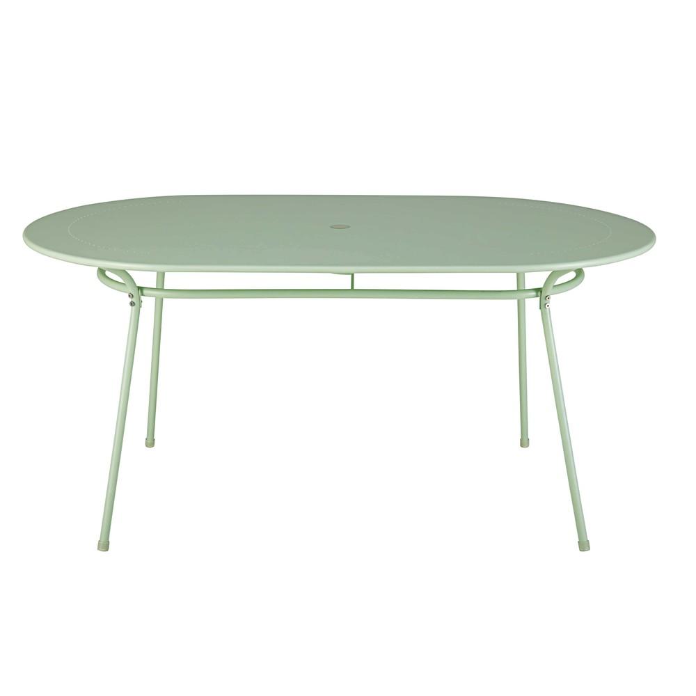 tavolo da giardino ovale in metallo verde chiaro 6 persone