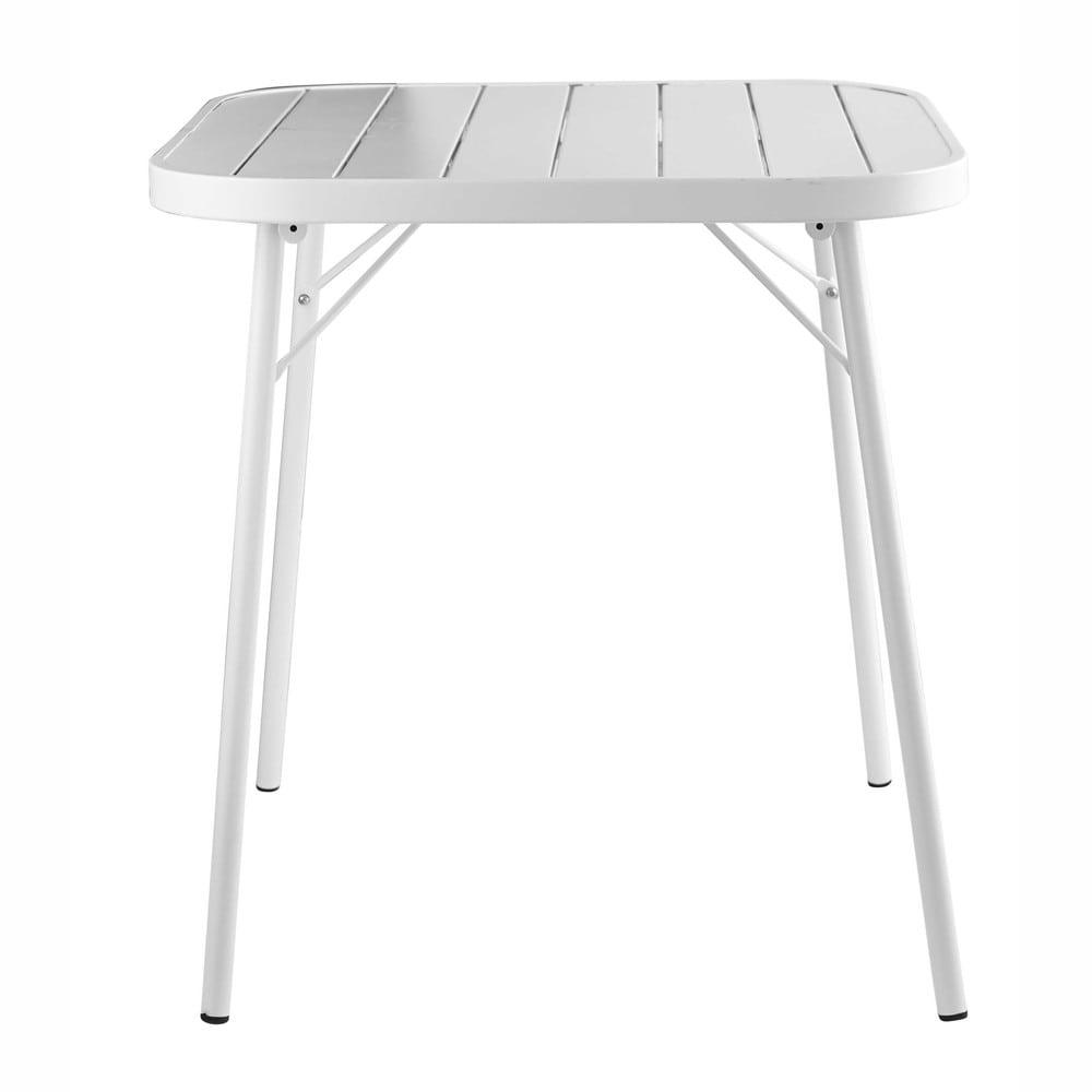 Tavolo da giardino pieghevole bianco in metallo l 70 cm for Tavolo giardino metallo