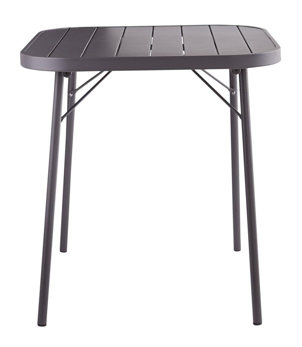 Tavolo da giardino pieghevole grigio ardesia in metallo l for Tavolo giardino metallo