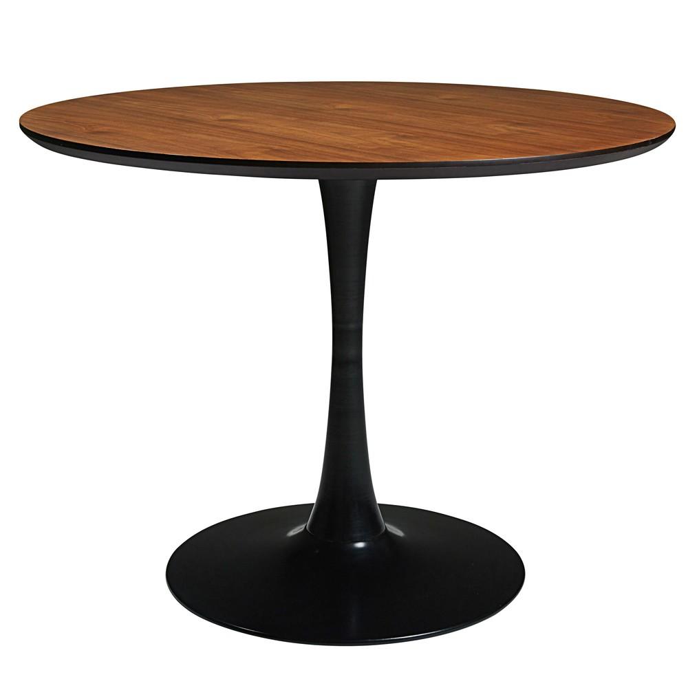 Tavolo imitazione legno e metallo nero circle for Tavoli maison du monde