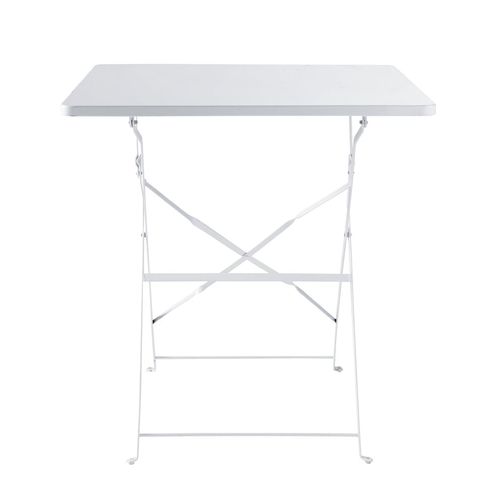 Tavolo pieghevole bianco da giardino in metallo l 70 cm for Tavolo giardino metallo