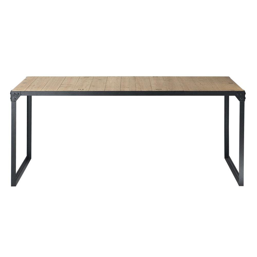 Tavolo stile industriale per sala da pranzo in legno e - Table en bois maison du monde ...