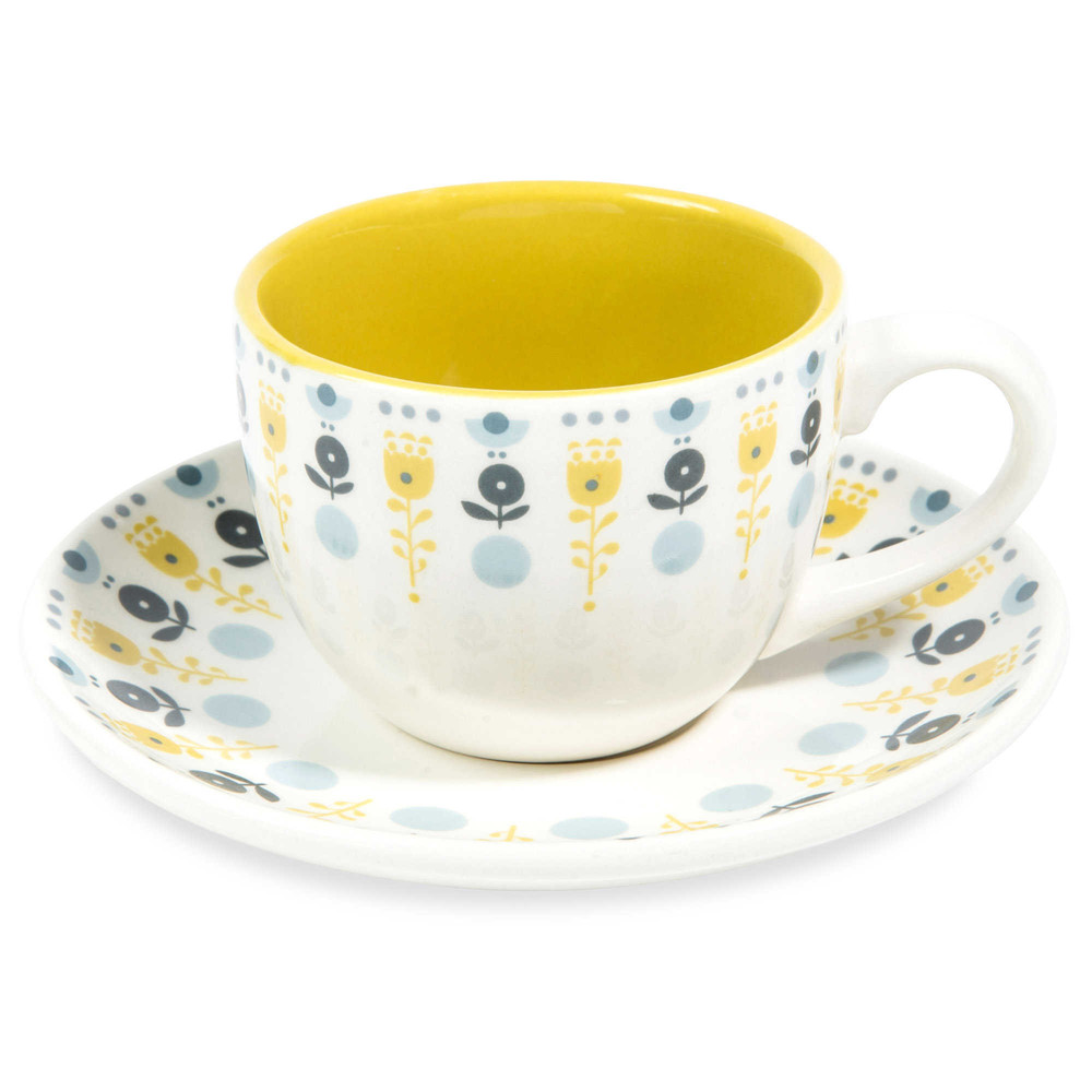Tazza e piattino da caffè giallo senape in maiolica