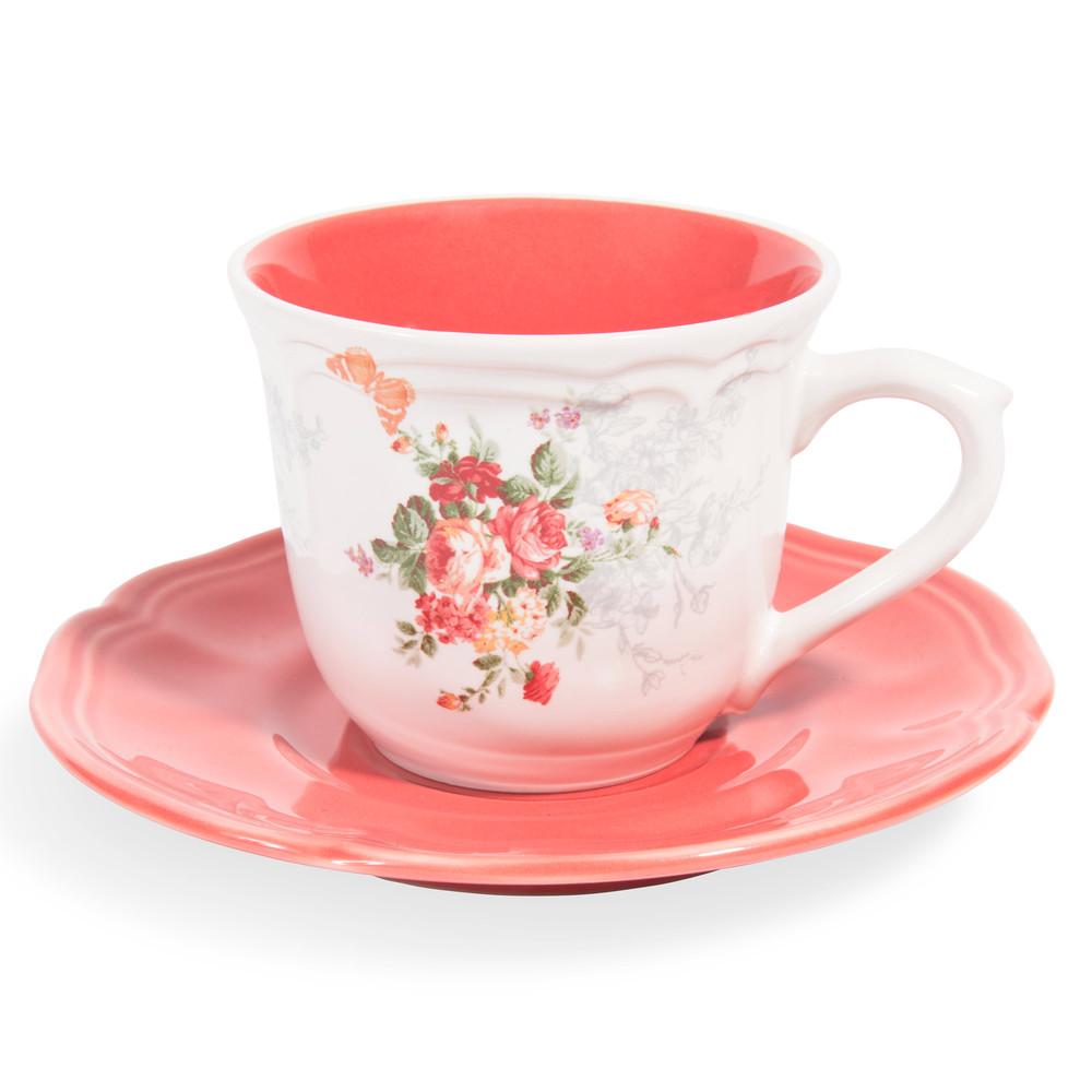 Tazza e piattino da tè color corallo in gres POMPADOUR
