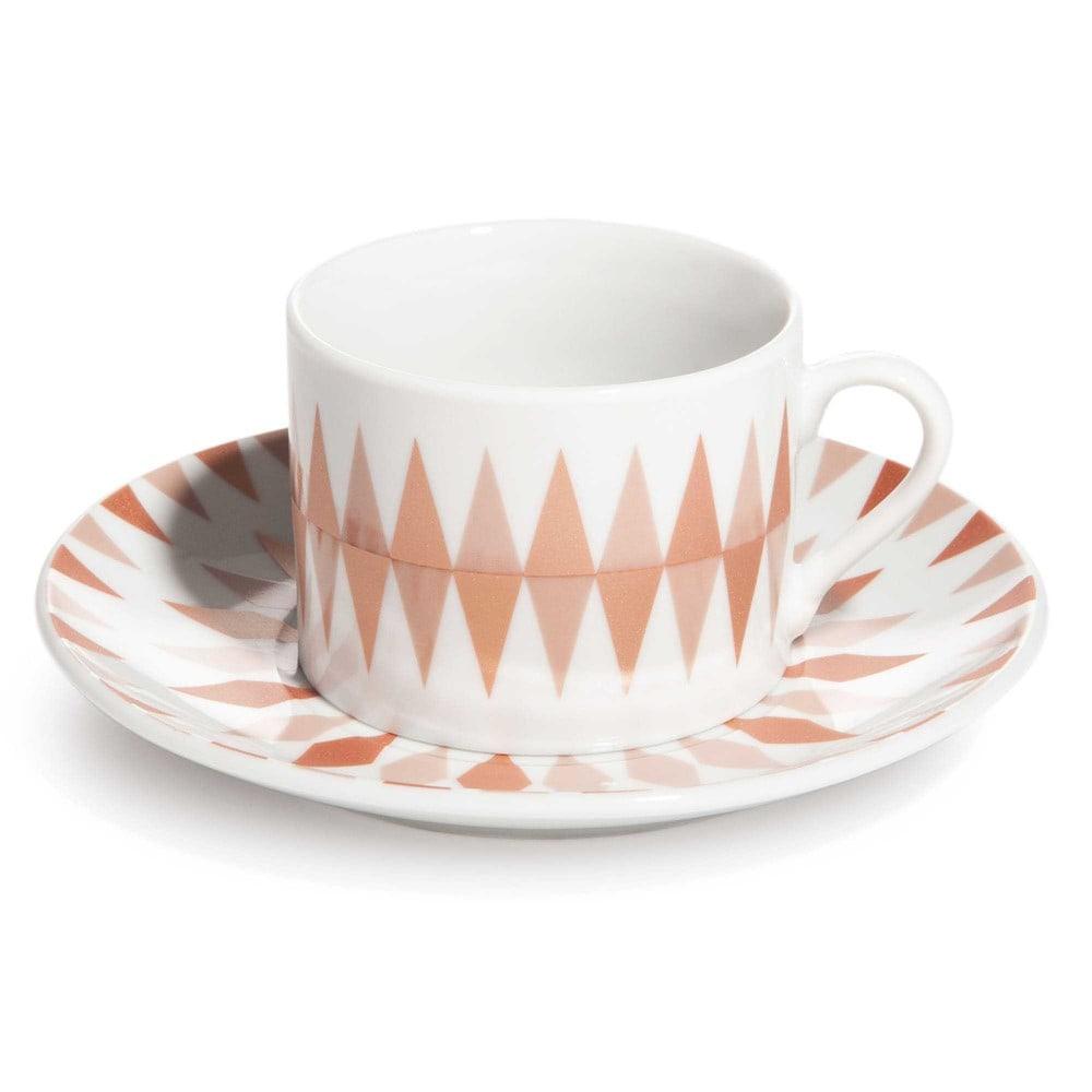 Tazza e piattino da tè con motivo a rombo in porcellana