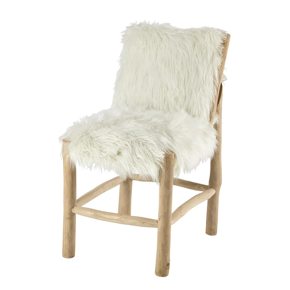 Teak and faux fur chair in white alaska maisons du monde - Chaise maison du monde ...
