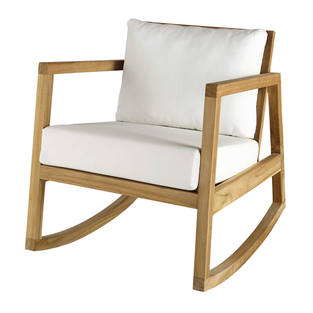 teak and white fabric rocking armchair alpin maisons du. Black Bedroom Furniture Sets. Home Design Ideas