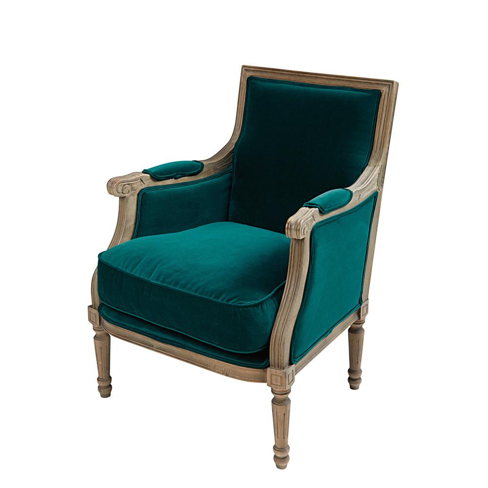 Teal blue velvet armchair casanova maisons du monde for Couleur du canard