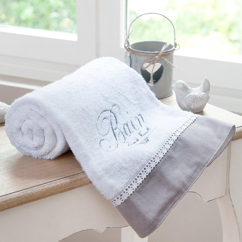 Telo da bagno bianco in cotone 50 x 100 cm bain maisons du monde - Toilette da bagno ...