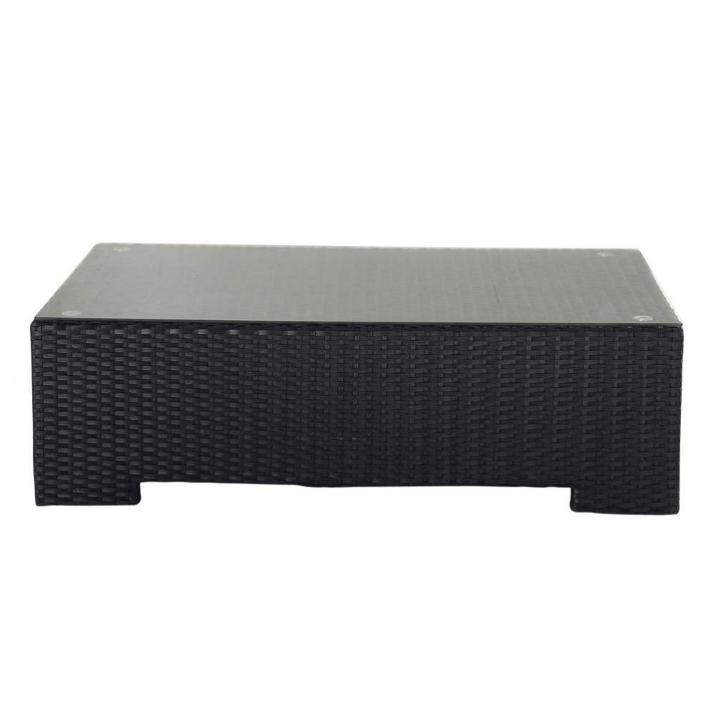 Tempered Glass And Wicker Garden Coffee Table In Black W 100cm Miami Maisons Du Monde