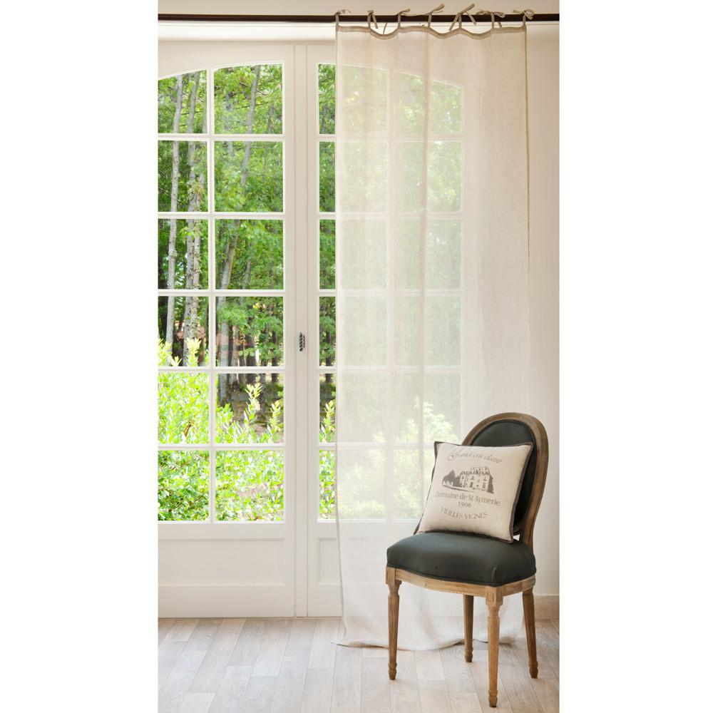 Tenda beige in lino con laccetti 105 x 300 cm maisons du for Maison du monde rideaux