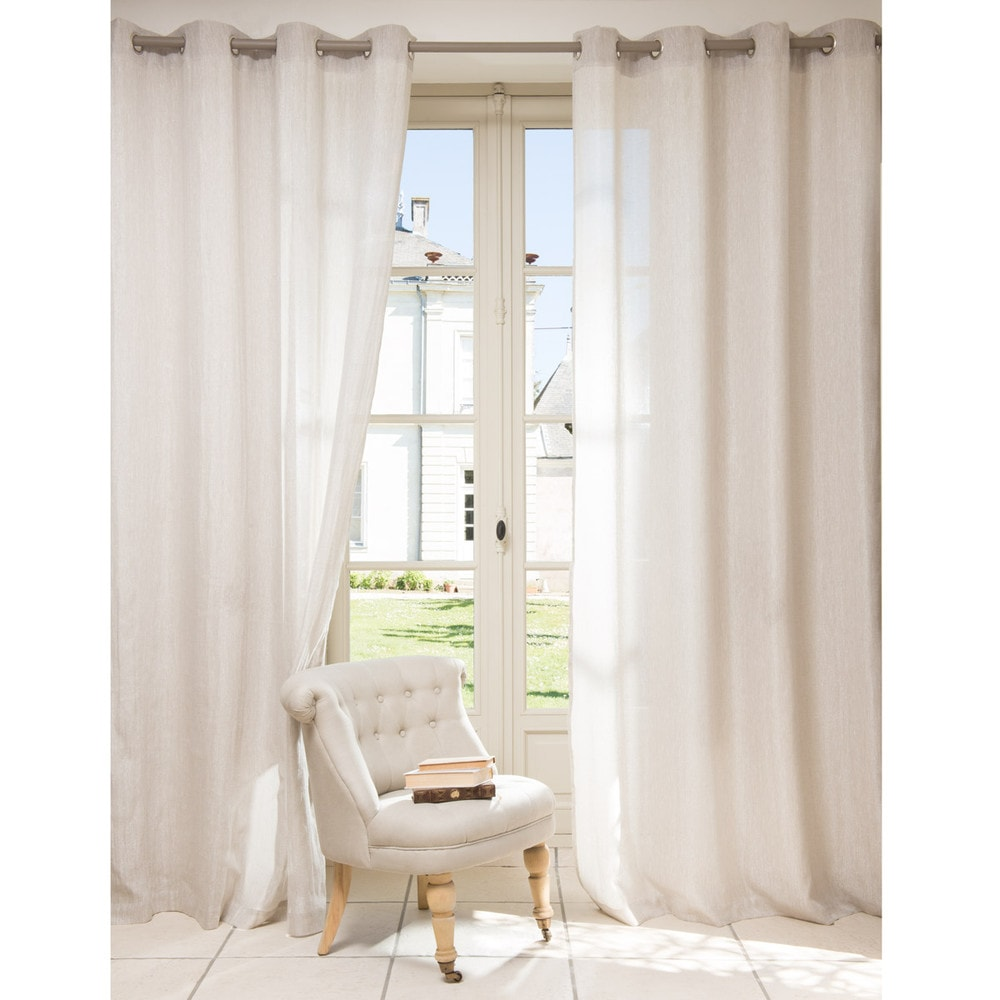 Tenda beige in lino con occhielli 140 x 250 cm v rone for La maison du rideau
