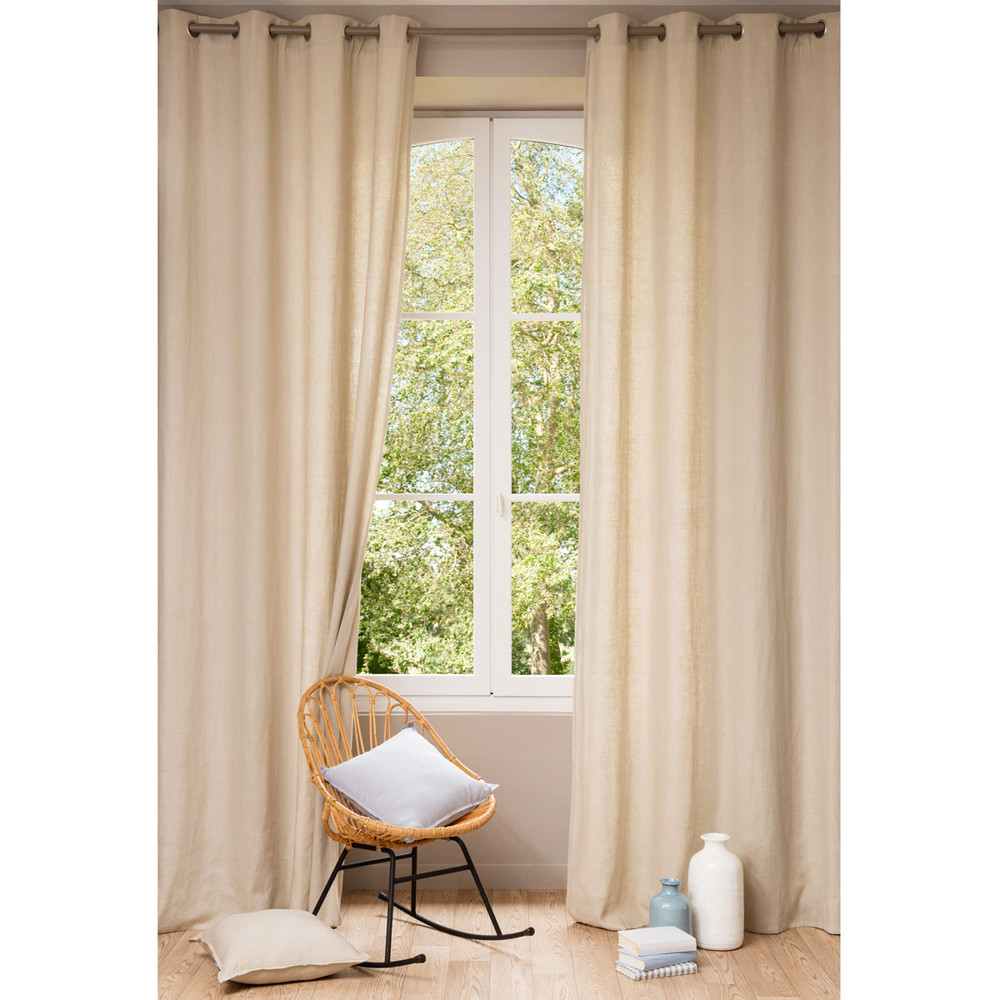 ... › Tende › Tenda beige in lino slavato con occhielli 140 x 300 cm