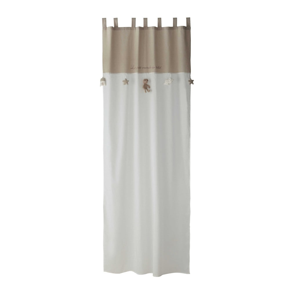 Tenda bianca beige in cotone con passanti 110 x 250 cm for Tende maison du monde