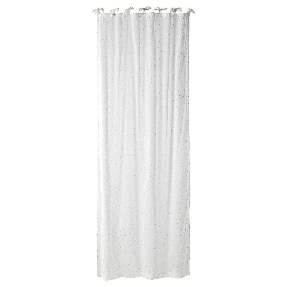 tenda bianca in cotone con laccetti 102 x 250 cm toile