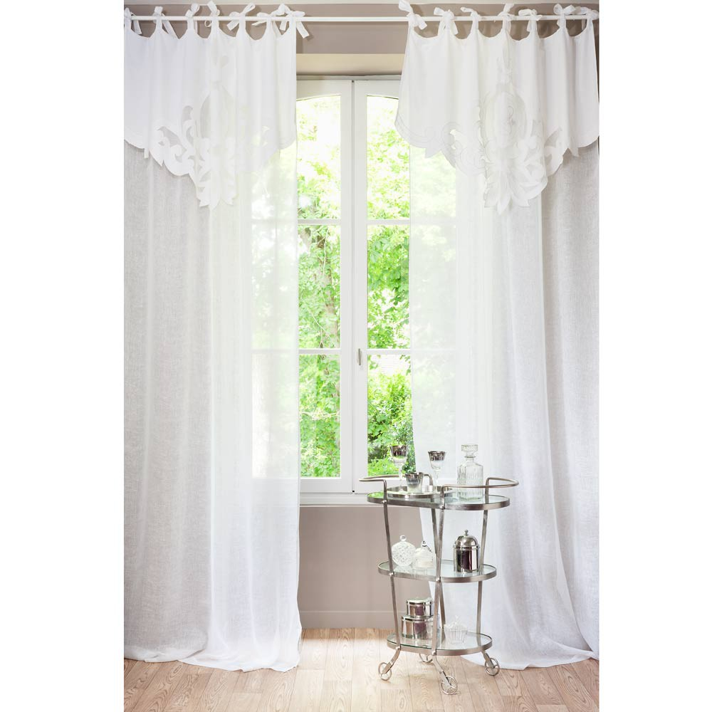 tenda bianca in lino con laccetti 140 x 300 cm romance