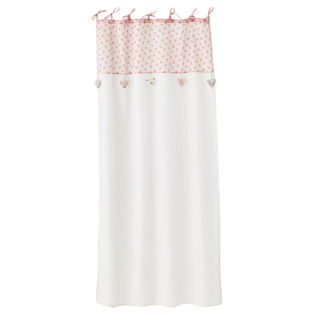 tenda bianca rosa con laccetti in cotone 105 x 250 cm ines maisons du monde. Black Bedroom Furniture Sets. Home Design Ideas