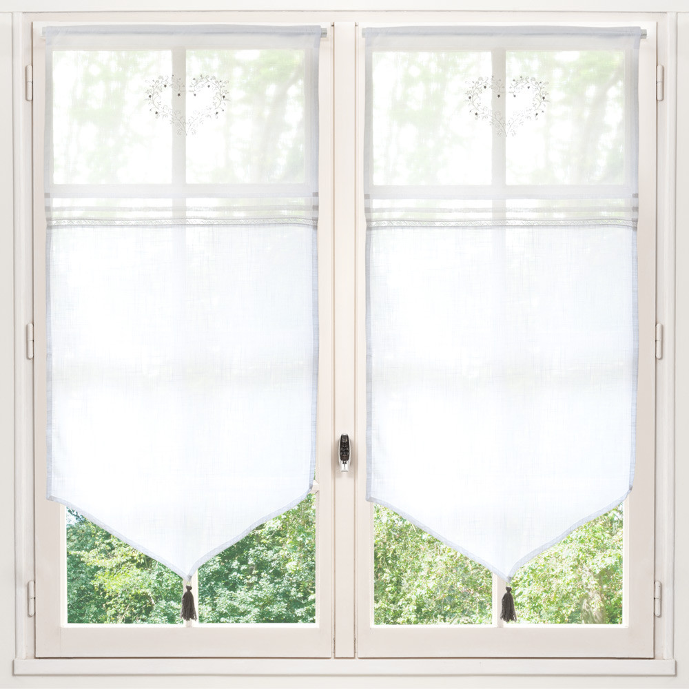 Tenda corta bianca in cotone 60 x 120 cm eloise maisons for Tende in cotone
