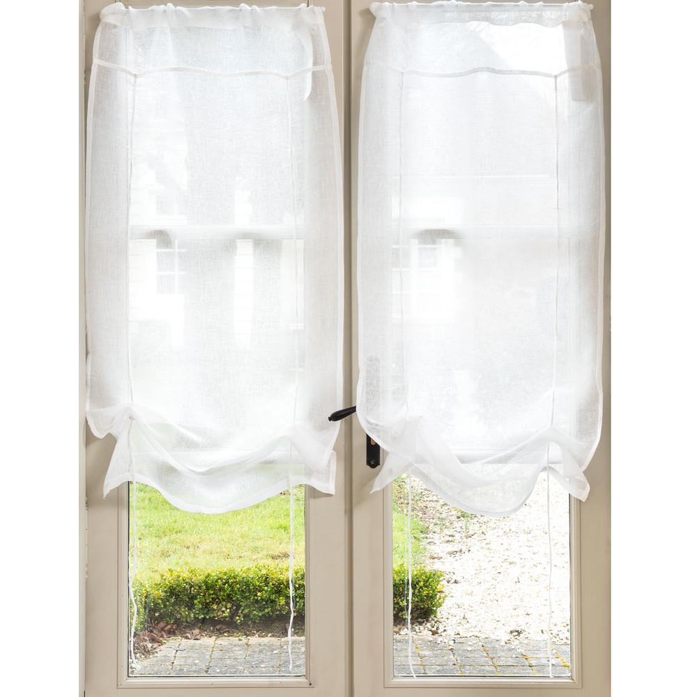 Tenda corta ecru in lino con laccetti 60 x 120 cm marquise for Tende con laccetti