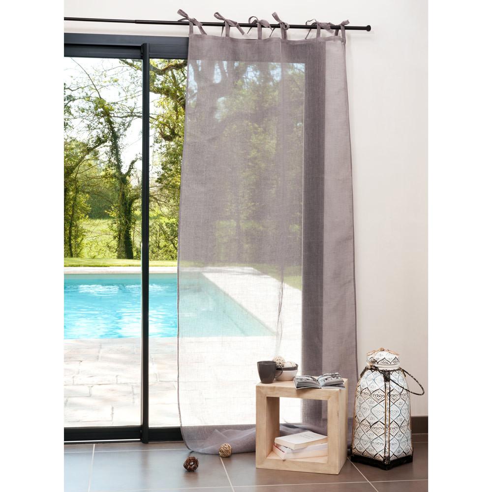 Tenda grigia in lino con laccetti 105 x 300 cm maisons for Tende con laccetti