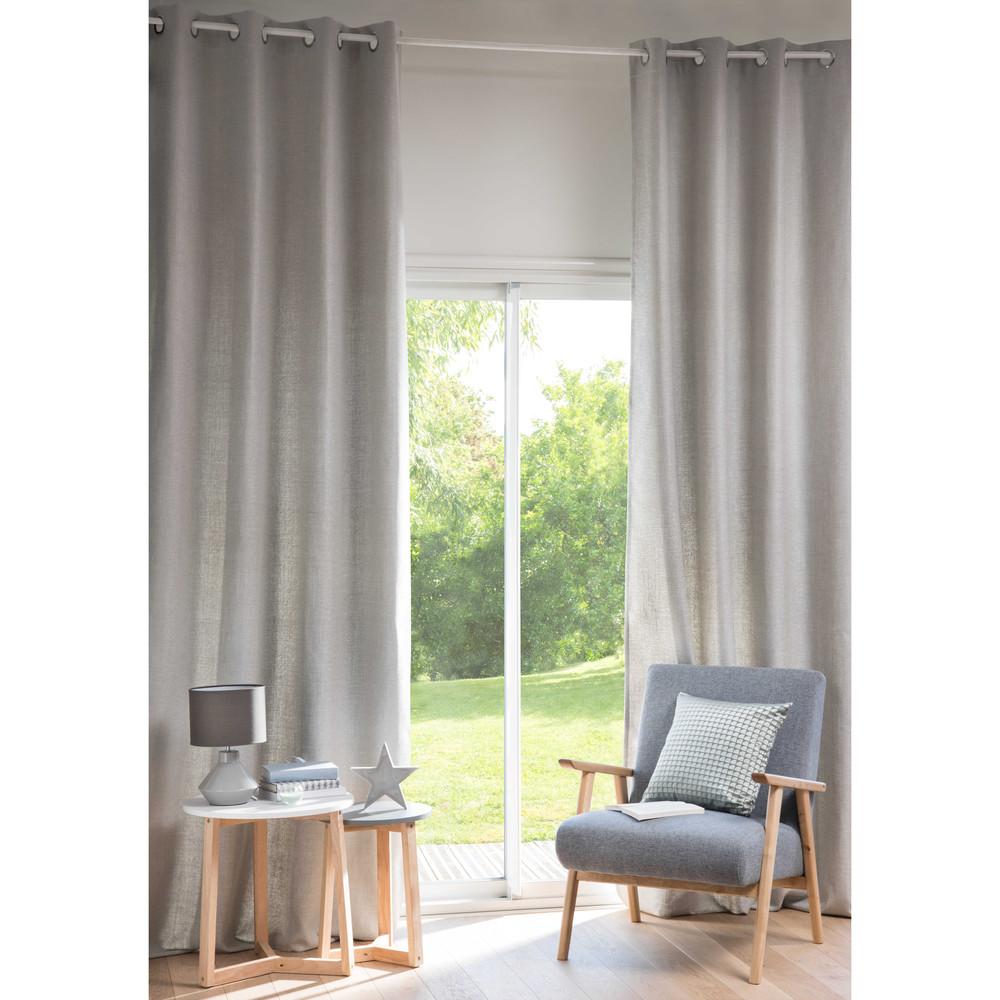 Tenda grigio perla con occhielli 130x300cm andy maisons for Tende maison du monde