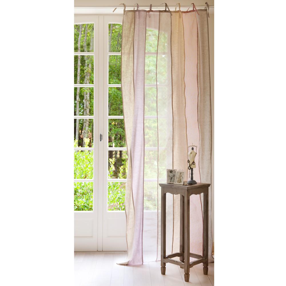 Tenda in lino multirighe con laccetti 105 x 250 cm for Tende con laccetti