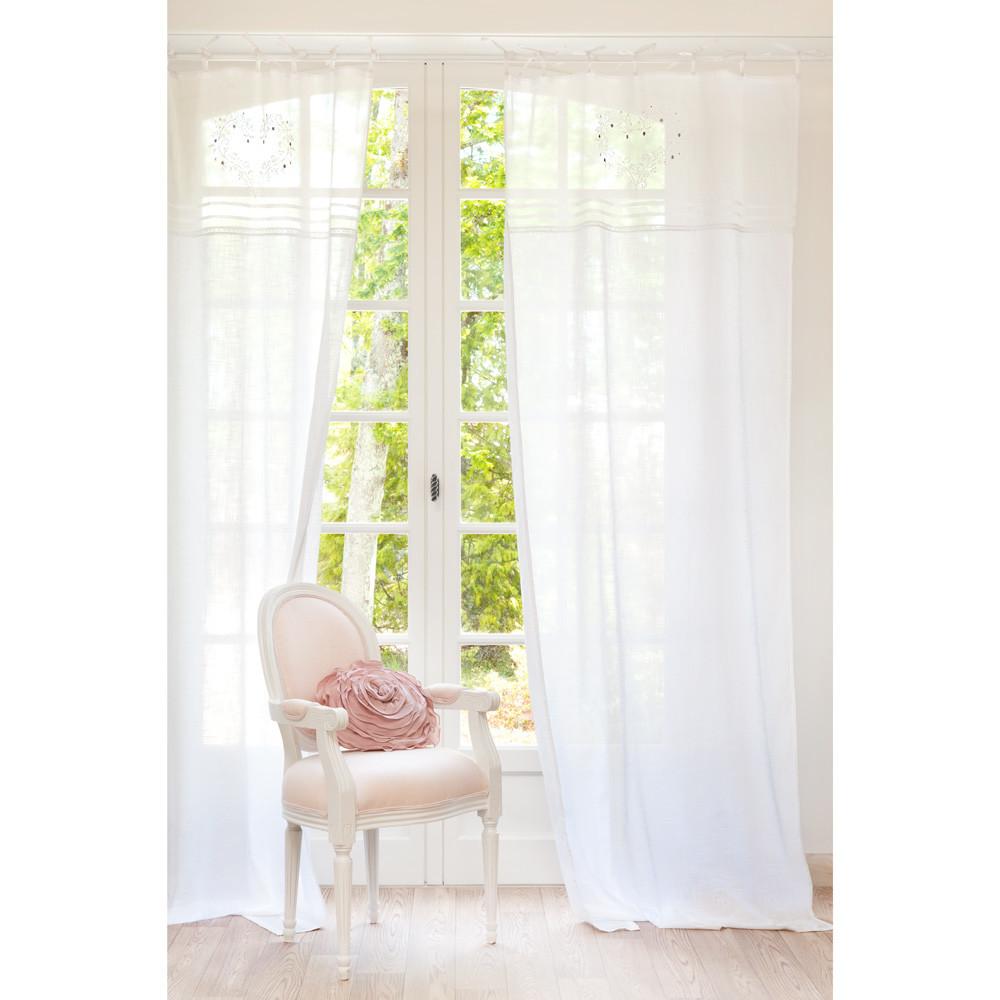tenda ricamata bianca in cotone con laccetti 110 x 250 cm