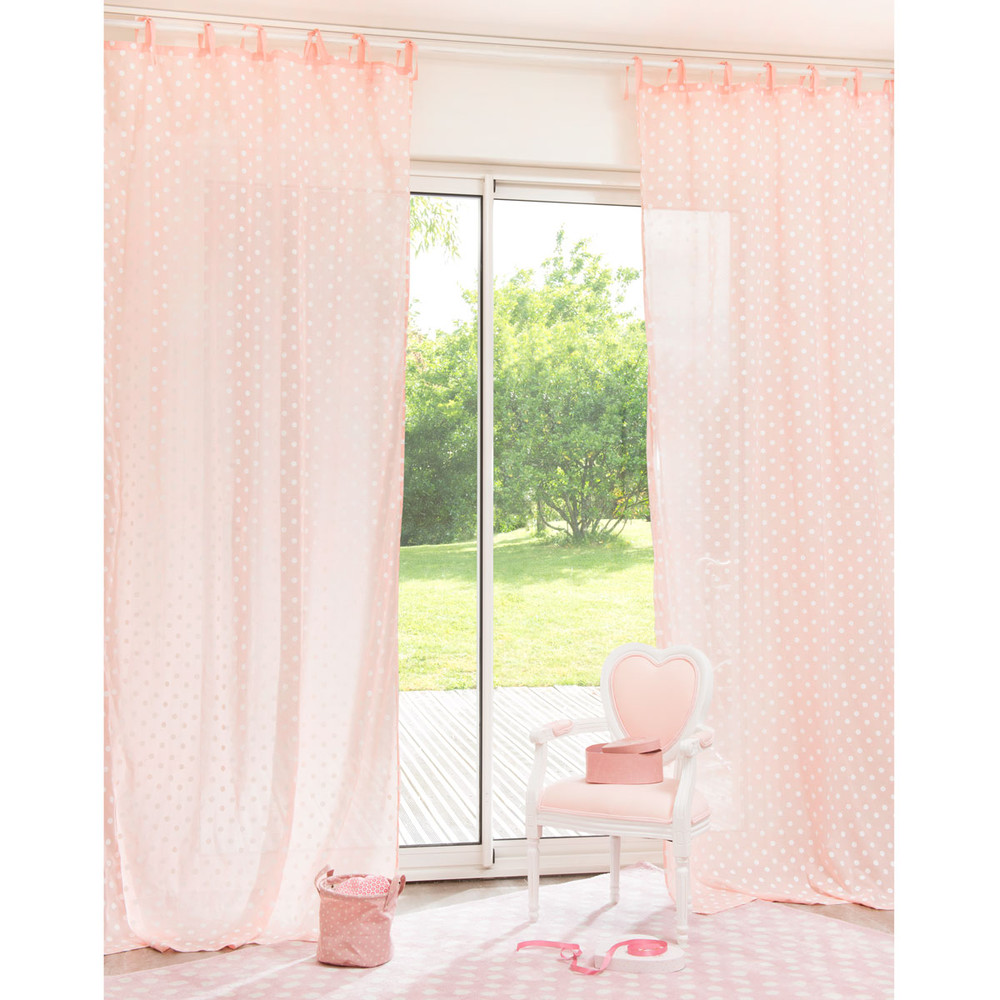 tenda rosa a pois in cotone con laccetti 105 x 250 cm maisons du monde. Black Bedroom Furniture Sets. Home Design Ideas