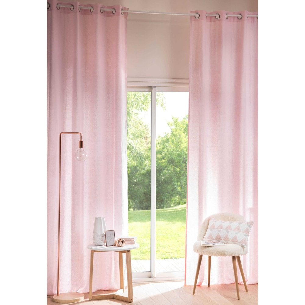tenda rosa antico in lino lavato con occhielli 130x300cm maisons du monde. Black Bedroom Furniture Sets. Home Design Ideas
