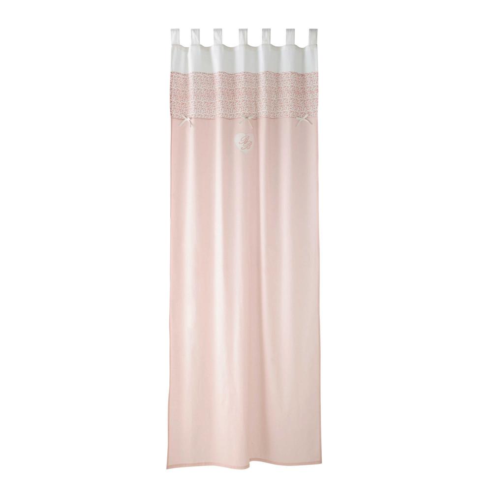 Tenda rosa in cotone con passanti 110 x 250 cm victorine maisons du monde for Double rideau rose