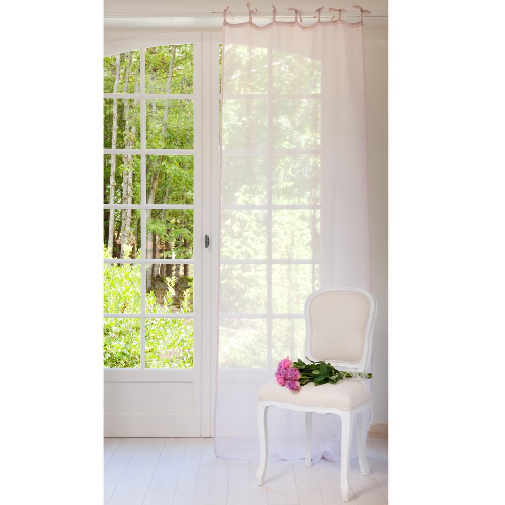 Tenda rosa lilla in lino con laccetti 105 x 300 cm for Tende con laccetti