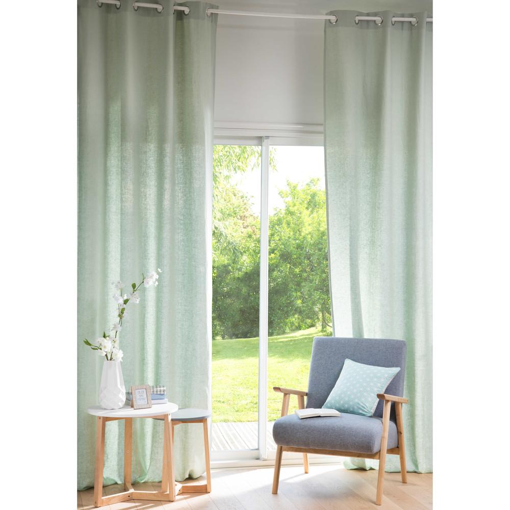 ... verde chiaro in lino lavato con occhielli 130x300cm  Maisons du Monde