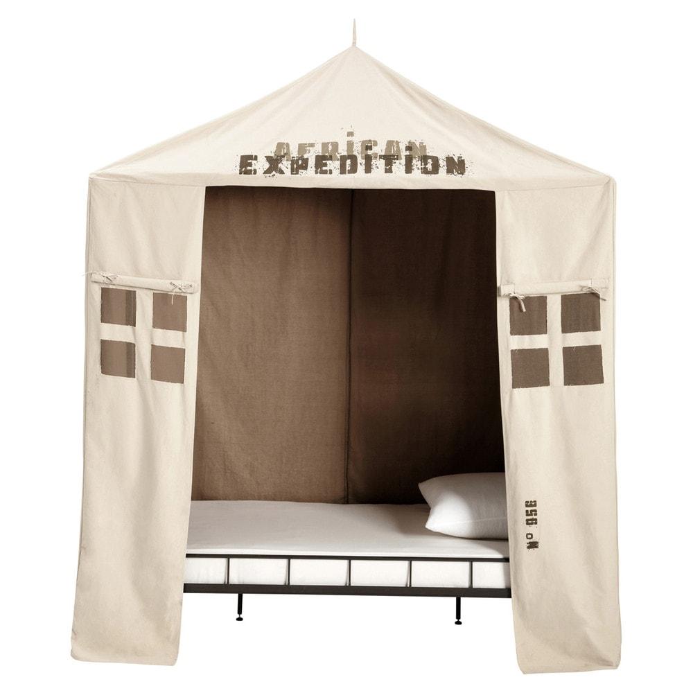 Tente enfant en coton beige 200 x 200 cm savane maisons for Maison du monde lit baldaquin