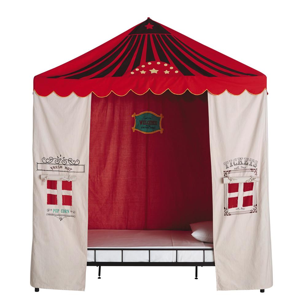Tente enfant en coton beige rouge 200 x 200 cm circus for Tente deux chambres