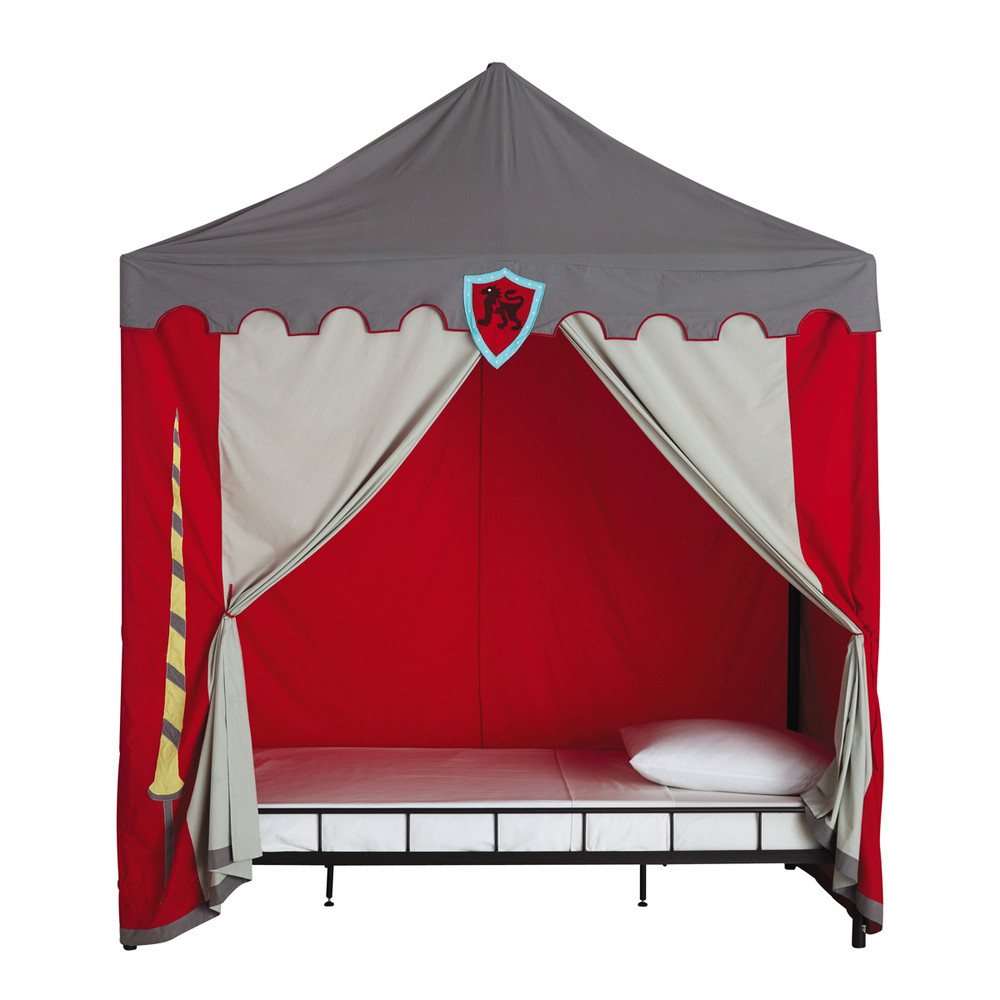 Tente Enfant En Coton Grise Rouge 200 X 200 Cm Chevalier
