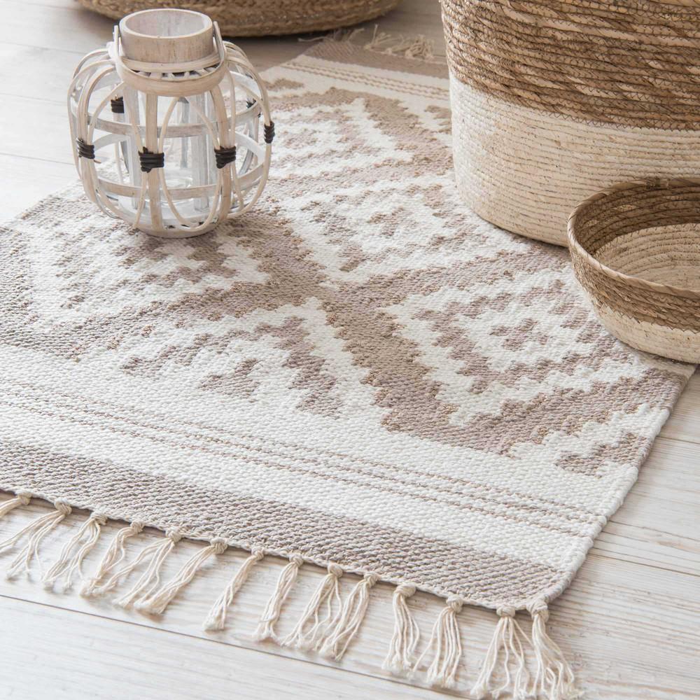 Teppich aus beiger baumwolle mit jacquard motiven 60 x 90 - Teppich jungenzimmer ...