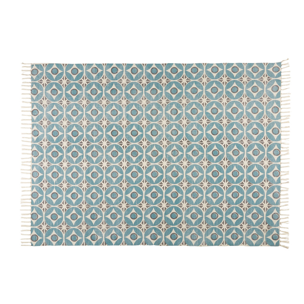 teppich aus blauer baumwolle mit motiven 140x200 blocalia. Black Bedroom Furniture Sets. Home Design Ideas